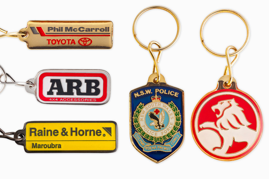 Collection of diverse and custom keyrings and badges to promote any business and brand.